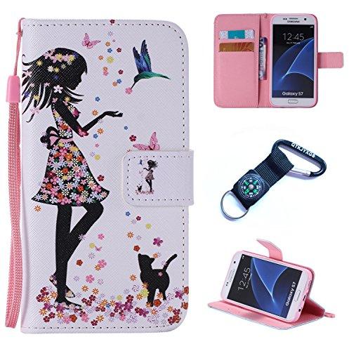 Preisvergleich Produktbild für Samsung Galaxy S7 Hülle Blume Premium PU Leder Schutzhülle für Samsung Galaxy S7 (5, 1 Zoll (12, 9 cm) Bookstyle Tasche Schale PU Case mit Standfunktion+Outdoor Kompass Schlüsselanhänge) XS (7)