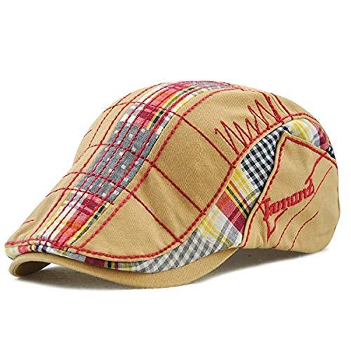 Sporty Gatsby Flatcap Schiebermütze Ivy Schirmmütze Cap Kappe Vintage Patch Cadet Hat Flat Beret Newsboy Golf, Beige, Einheitsgröße