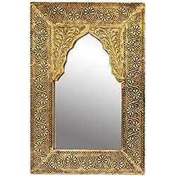 Oriente Espejo Espejo de Pared Malik 42 cm de Altura de Oro | Gran Espejo de la Sala de Marruecos con Marco de Madera Decorado Oriental | Espejo de baño sin iluminación como decoración
