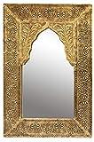 Orient Spiegel Wandspiegel Malik 42cm groß Gold | Großer Marokkanischer Flurspiegel mit Holzrahmen orientalisch verziert | Orientalischer Vintage Badspiegel ohne Beleuchtung als Orientalische Deko
