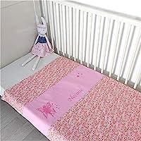 Couverture personnalisée liberty rose avec prénom - Idéal cadeau de naissance bébé fille - Cadeau baby shower - Cadeau d'anniversaire - Cadeau de baptême - Cadeau de Noël