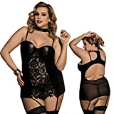 MarysGift Sexy Lingerie Plus Size Babydoll Black Lace Wet Look Underwired Dress G String Size 6 8 10 12 14 16 18 20 (5X/UK 18-20)