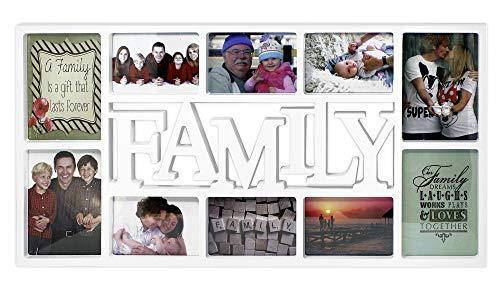 fotorahmen family Close Up® 3D Fotorahmen Family für 10 Fotos- Qualität Collage Bilderrahmen XL - ca. 73x37 cm - weiß