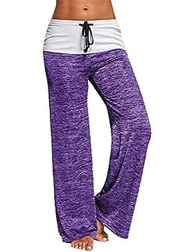 Guiran Mujer Playa Pantalones Anchos De Pierna Largo Cintura Media Pantalón Yoga Fitness Deportes Tallas Grandes...