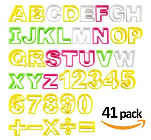 Fondant Buchstaben Ausstecher groß Ausstechform ilauke Modellierwerkzeug farbig Alphabet Zahlen Tortendeko Mazipan Kuchendekorationsset Backen ca. 4,6 cm Höhe und 3 bis 6 cm Breit