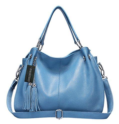 Greeniris Donna morbide Borse del cuoio genuino Borse borse nappe spalla Totes per le donne Azzurro