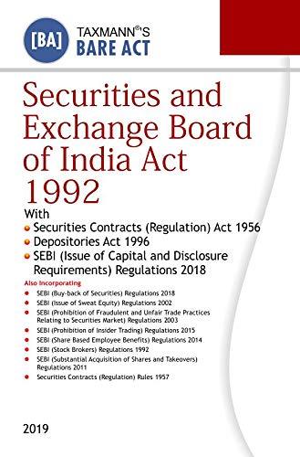 Securities and Exchange Board of India Act 1992 (Bare Act) (2019 Edition) Descargar PDF Ahora