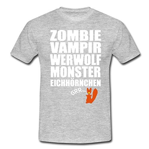 Zombie Eichhörnchen (Zombie Werfolf Monster Eichhörnchen Männer T-Shirt von Spreadshirt®, XL, Grau)