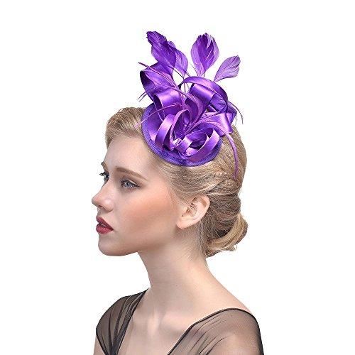 QinMM Frauen Elegante Fascinator Hut Braut Feder Haarspange Zubehör Cocktail Royal Ascot Hochzeit - Classy Brautjungfer Kleider