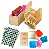 Handmade Adjustable Wood Soap Mold Loaf Cutter Mold + Silicone Soap Mold with Wood Box + Stainless Steel Straight Soap Cutting Tool + Two Silicone Soap Mold - POPURO (TM) - (Pack of 10)