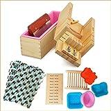 Hecho a mano ajustable madera jabón molde cortador molde + silicona jabón molde con caja de madera + recta de acero inoxidable jabón herramientas de corte - HOLDSUN (TM) (Paquete de 10, Total 24 pcs)