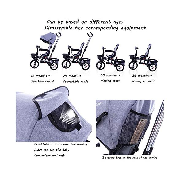4 In 1 Childrens Folding Tricycle 360° Swivelling Saddle Blockable Rear Wheels Childrens Tricycles Detachable And Adjustable Push Handle 6 Months To 6 Years Child Trike Maximum Weight 25 Kg,Red BGHKFF ★ 4 in 1 multi-function: can be converted into a stroller and a tricycle. Remove the backrest and awning as a tricycle. ★Material: High carbon steel frame, quiet, shockproof, suitable for children from 6 months to 6 years old, maximum weight: 25 kg ★ Tricycle foldable, space saving, easy to carry, seat can be rotated 360°, is the best travel companion, 2-point seat belt, front wheel clutch, rear wheel brake, footrest can be folded 3