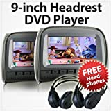 5,1x 22,9cm HD Kopfstütze Auto DVD-Player Hinten Monitor Kissen + Wireless Kopfhörer IR