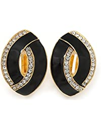Black Matte Clear Crystal Oval Clip On Earrings In Gold Plaiting - 23mm L
