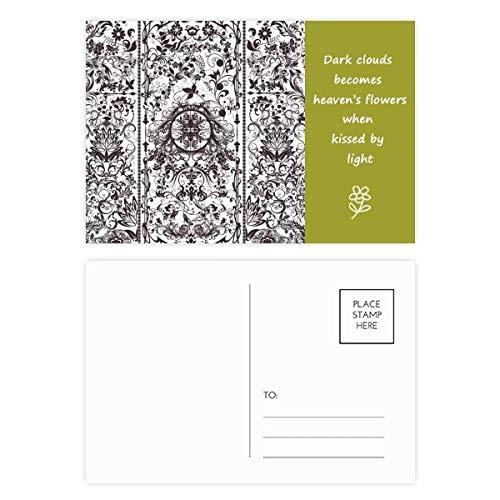 Modernes Poesie-/Postkarten-Set mit Barockblatt, englischsprachige Aufschrift, 20 Stück