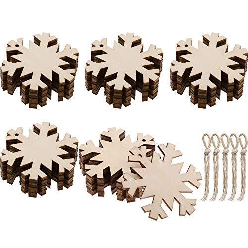 Schneeflocken unlackiert Holz Ornamente Ausschnitte Weihnachten Holz Schneeflocke mit 50 Stück Seilen für Weihnachtsdeko Weihnachtsbaum Hängende Verzierungen und Basteln DIY ()