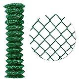 UISEBRT Maschendrahtzaun 15m Rolle - verzinkt Gartenzaun 100cm Höhe - PVC-Beschichtung grün Drahtzaun - Maschenweite 60 x 60 mm (1.0x15m)