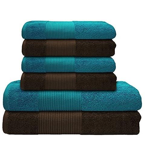 Liness 6 tlg Handtücher Set türkis braun 4 x Handtuch 50x100 cm 2 Duschtücher Badetücher 70x140 cm 100% Baumwolle Handtücher Set braun