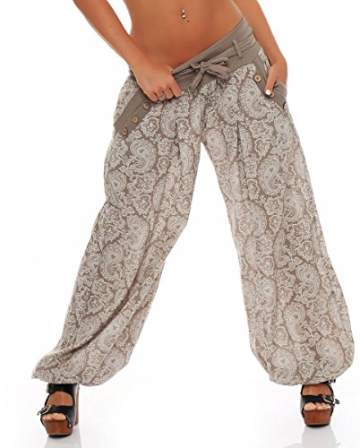 Malito Damen Pumphose mit Orient Print | leichte Stoffhose | Freizeithose für den Strand | Haremshose - luftig 3488 (Fango) -