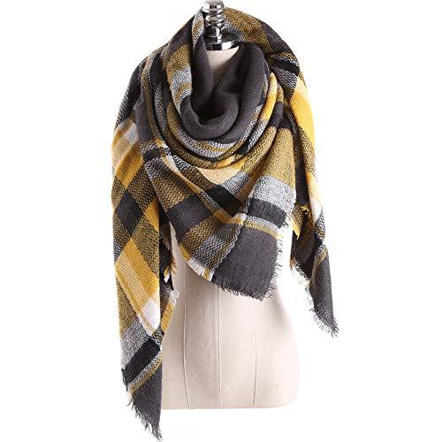 Bakicey XXL Damen schal dick strickschal karo Halstuch scarf poncho cape warm neu Winterschal Herbstschal Deckenschal weich karoschal, 140 * 140cm (16)