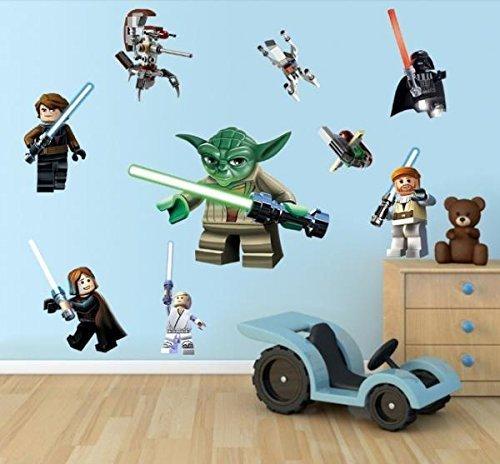 3D Aufkleber Lego Yoda Star War 9Zeichen Aufkleber abnehmbaren Wandtattoo Kids Room Decor Art 50* 70cm, von maqony