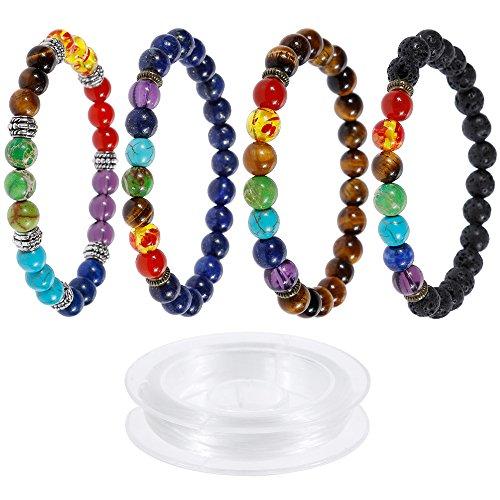 Lictin 4*Lava-Armband Damen Herren Energietherapie Yoga-Armband Weiß Türkis 7 Stein Chakra Healing Balance Buddha-Armband
