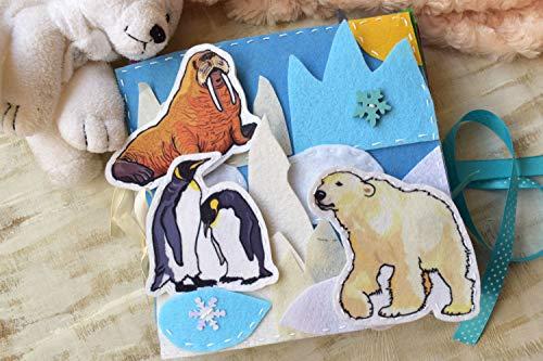 Arktis Tiere beschäftigt Buch - 8 Seiten - ruhig Spielzeug nordisch Thema Polares Tier Montessori Kleinkinder Wildlife Bildungs Spielzeug Baby Reisetätigkeit