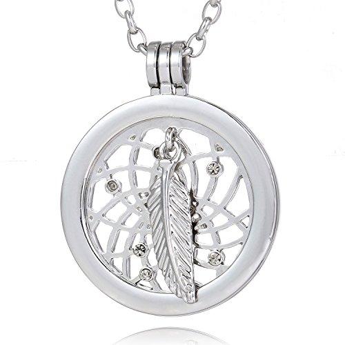Morella mujeres collar 70 cm acero inoxidable y colgante amuleto Coin 33 mm átrapasueño de color plata 33 mm para damas, en bolsa para joyas