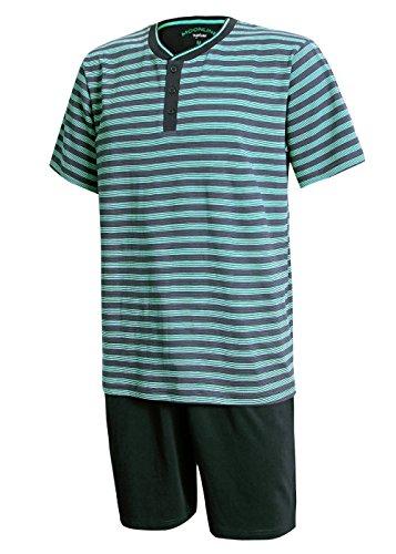Schlafanzug Herren kurz Herren Pyjama kurz Herren Shorty Schlafanzug aus 100{9a30eaaa2176eb12dc333d406632aeba6d2782e52ab379e3b356a122a6aec261} Baumwolle (XXL/58-60, Oberteil blau gestreift/Hose dunkelblau)