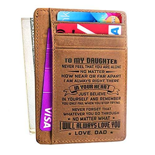 ATAYOU Zu Meinem Sohn Und Tochter Minimalistischen Geldbörsen Geschenk Von Papa Mon Leder Front Pocket Wallet Card Cases Für Familiengeschenk (Vater zu meinem Tochter-Geschenk) Pocket Card Case