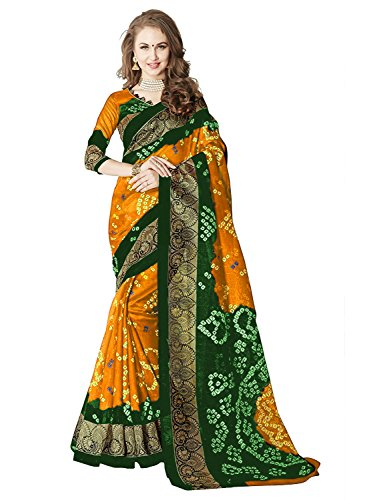 Saree (Navabi Export Women's Bhagalapuri Silk Printed Partywear Fancy Saree Green and...