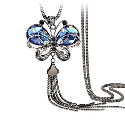 Yutii Antique Style Butterfly Blue Crystal Long Chain Pendant Tassel Necklace for...