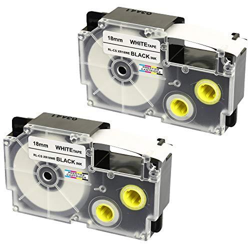 2 Kassetten XR-18WE XR-18WE1 schwarz auf weiß 18mm x 8m Schriftband kompatibel für CasioKL-60 KL-100 KL-120 KL-200 KL-300 KL-750 KL-780 KL-820 KL-2000 KL-7000 KL-7200 KL-8100 Beschriftungsgerät