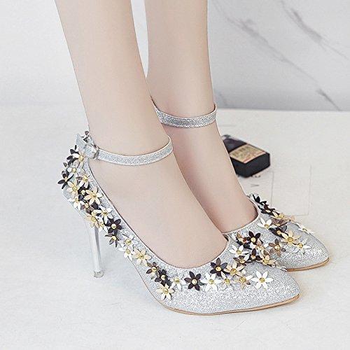 RUGAI-UE Buckle Sandales femme Fleurs été fait de hauts talons chaussures sexy Silvery