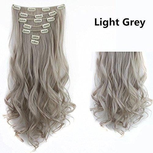 61 cm bouclés Extensions en cheveux synthétiques Tête complète 130 g 7 pièces/lot gris clair