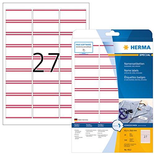 HERMA 4512 Namensetiketten (63,5 x 29,6 mm auf DIN A4) rückstandsfrei ablösbar aus Acetatseide, selbstklebende, bedruckbar, 540 Textiletiketten auf 20 Blatt, weiß mit roten Streifen - Streifen Matratze