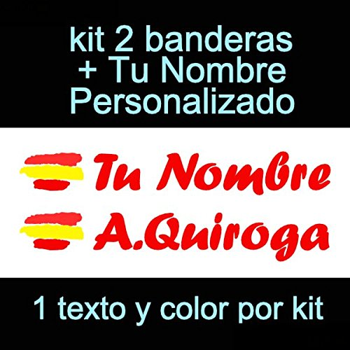 Vinilin Pegatina Vinilo Bandera España + tu Nombre - Bici, Casco, Pala De Padel, Monopatin, Coche, Moto, etc. Kit de Dos Vinilos (Rojo)