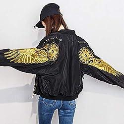 JJHR Jacken Frauen Kurze Pilot Jacken Herbst Lose Streetwear Wings Stickerei Nieten Bomber Baseball Mantel Weiblich