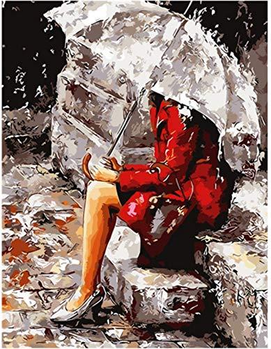 Arte y manualidades Mrzy Pintura por números Pintura de números Pintados a Mano Lienzo Moderno Imagen de Pared para Sala de Estar decoración para el hogar Sin Marco 40x50cm