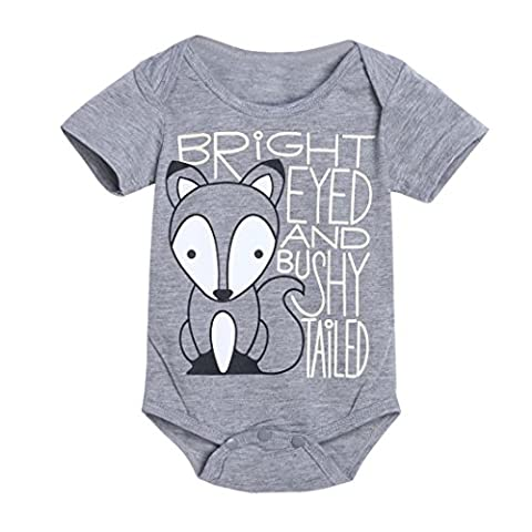 Igemy Newborn Infant Baby Boys Girls Fox Letter Print Romper Jumpsuit Outfits Clothes (9-12Months,