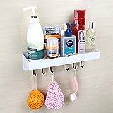 fealkira Saugnapf Floating Badezimmer Regal Dusche Rack, einfach Installation für Küche/Dusche & Wohnzimmer/Büro (keine Nägel kein Werkzeug) (weiß), weiß
