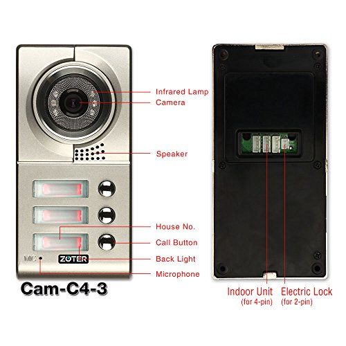 "Generic 7"" inch Color LCD Video Door Phone Doorbell Home Entry Intercom System 3 Monitor 1 Metal Camera Night Vision for 3 Family 705 (Black)"