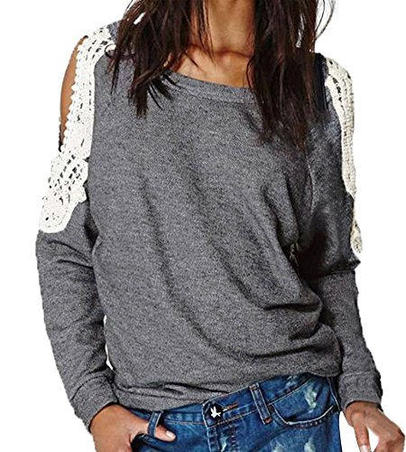 Minetom Damen Sexy Lace Crochet Spleiß Off Shoulder Langarm Shirt Tops Bluse Hemd Pullover Damen Lace Crochet Shoulder Langarm Shirt Tops Bluse 36