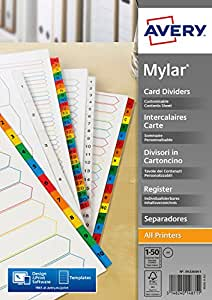 Avery 05226061 A4 Mylar Pre-Printed Handwrite Only Punched Dividers, 1-50 Numeric -  White