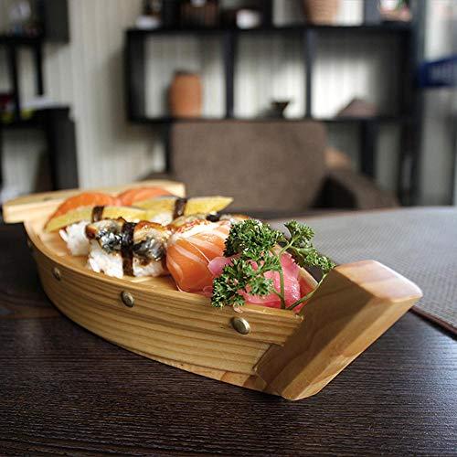 Thorityau vassoio a forma di barca in legno, giapponese creativo vassoio da tavola da cucina decorazione ornamento per sushi sashimi