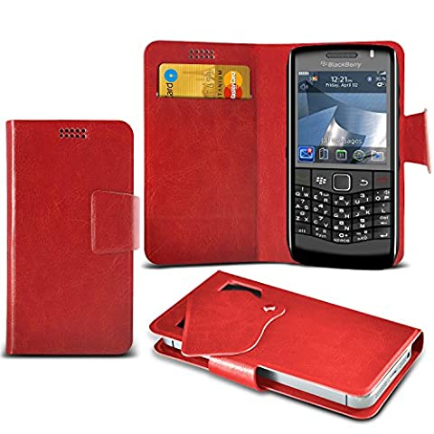 (Red) Blackberry Pearl 3G 9100 Super Thin Faux Leather Suction Pad Wallet Case Cover Skin With Credit/Debit Card Slots By Spyrox