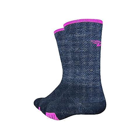 Defeet Cyclismo Wool 5 inch Cuff Sock Charcoal / Hi-Vis Pink Medium, Charcoal / Hi-Vis Pink