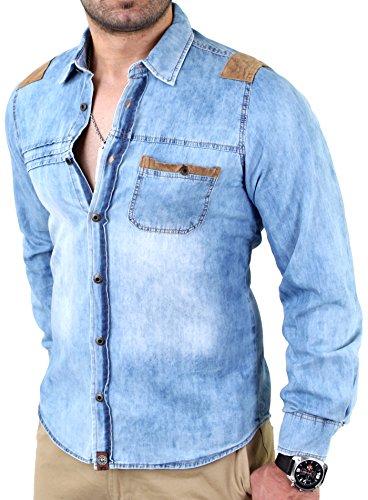 Reslad Jeans-hemd Figurbetont Denim Herren-Hemd viele Modelle & Farben 601 Blau