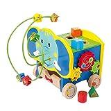 Motorikwürfel Aktiv-Elefant aus stabilem Holz, mit fünf Seiten farbenfrohem Spielspaß, schult spielerisch die Feinmotorik, ein süßer Elefant für Kinder ab 18 Monaten
