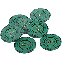 Gazechimp  20 Valor Nominal De 45 Mm Cielo No Negociable Arcilla Diamante Fichas De Casino Juguetes Accesorios Color Verde